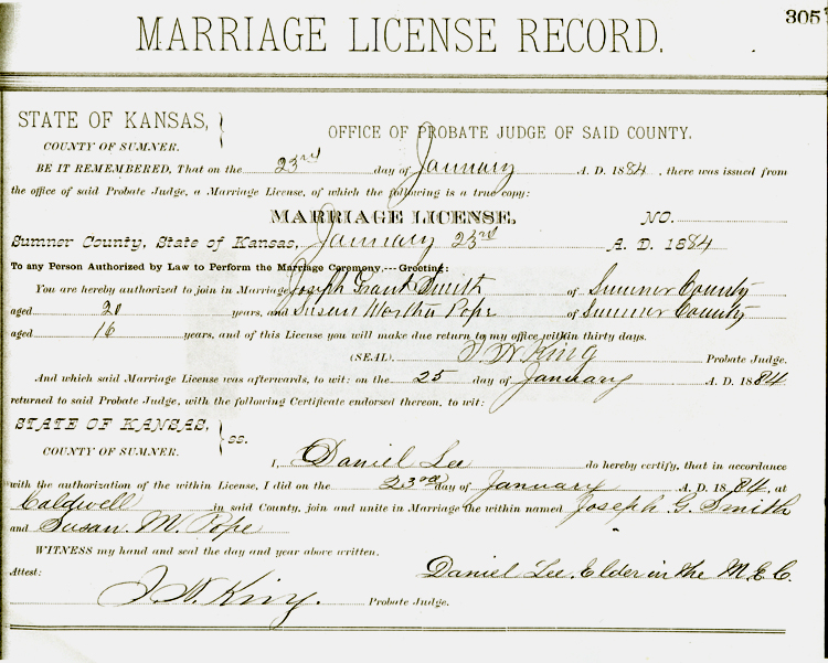 marriage kansas certificate york thomas county records sumner copy martha pope ann security